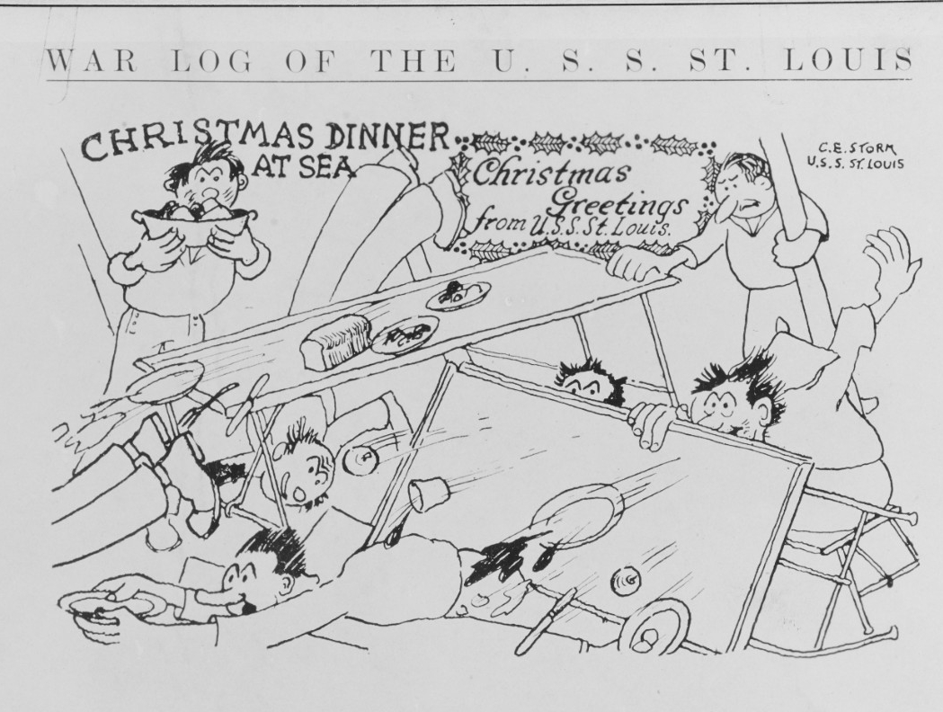 "Crewmen draw a cartoon for their ""War Log"" aptly demonstrating the perils of eating a meal during heavy seas. (U.S. Navy Photograph NH 108531, Naval History and Heritage Command)"