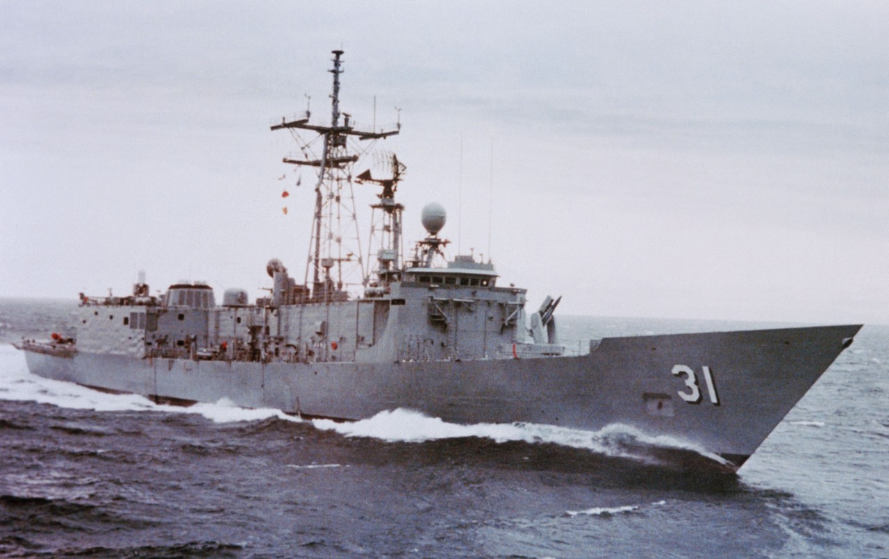 Stark gracefully glides through calm swells while completing her sea trials in the Pacific Ocean, 13 July 1982. (Todd Pacific Shipyards Corp., Department of Defense Photograph DN-SC-83-11743, Still Pictures Branch, National Archives and Records Administration II, College Park, Md., Photograph 6369664)