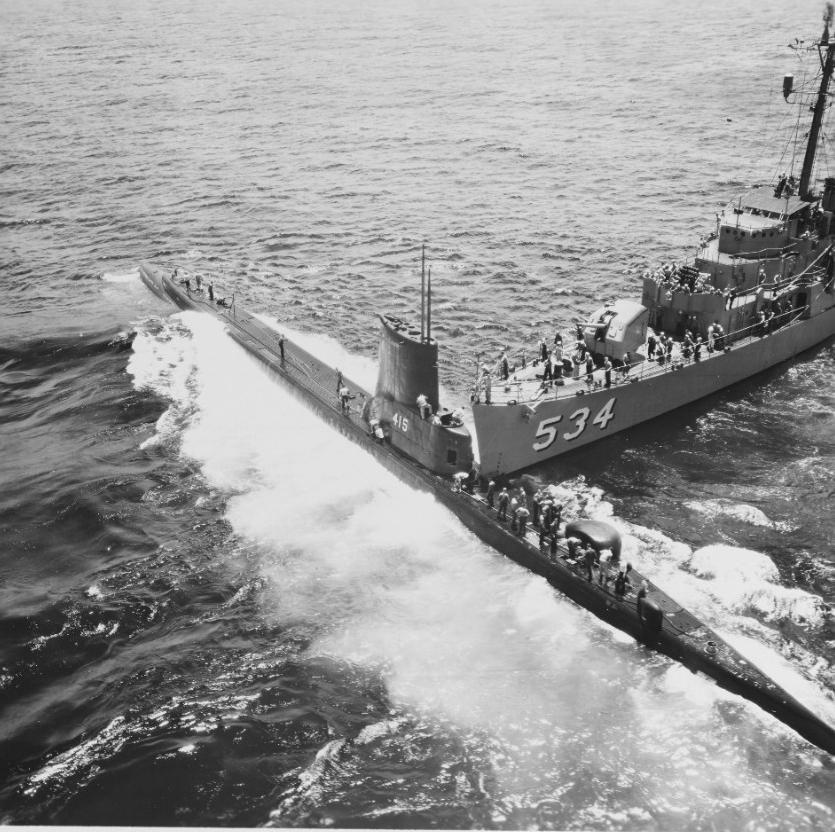 USS SILVERSTEIN (DE-534) and USS STICKLEBACK (SS-415)