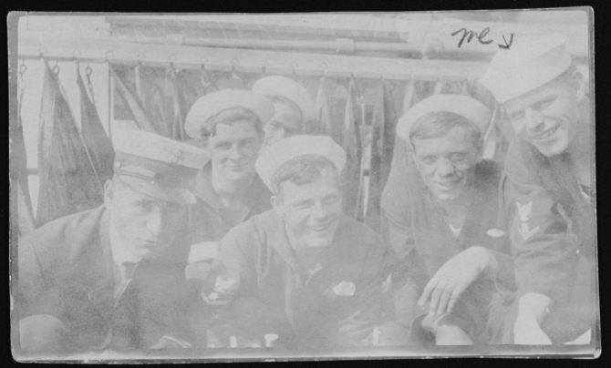 "Several crewmen pose on the ship's signal bridge, circa 1914–1915. Signalman 3rd Class Paul F. Wangerin is at right, marked ""me."" (U.S. Navy Photograph NH 99951, Collection of Paul F. Wangerin, Photographic Section, Naval History and Heritage Command)"