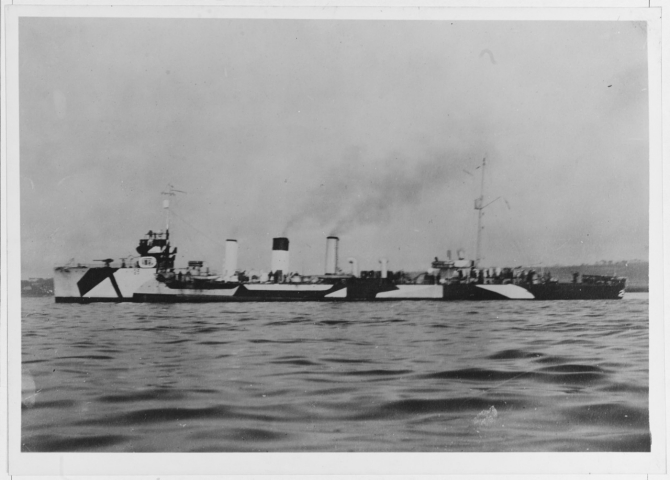 "Terry, photographed in 1918 in ""dazzle"" camouflage. (Naval History and Heritage Command Photograph NH 41807)"