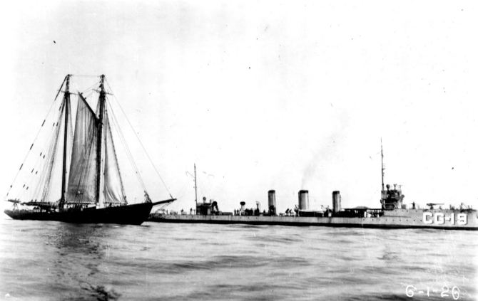 Terry pickets the French-flagged rumrunner Mistinguette out of St. Pierre et Miquelon, dated 20 June 1926. (Official Coast Guard Photograph, Terry Cutter File, USCG Historian's Office)