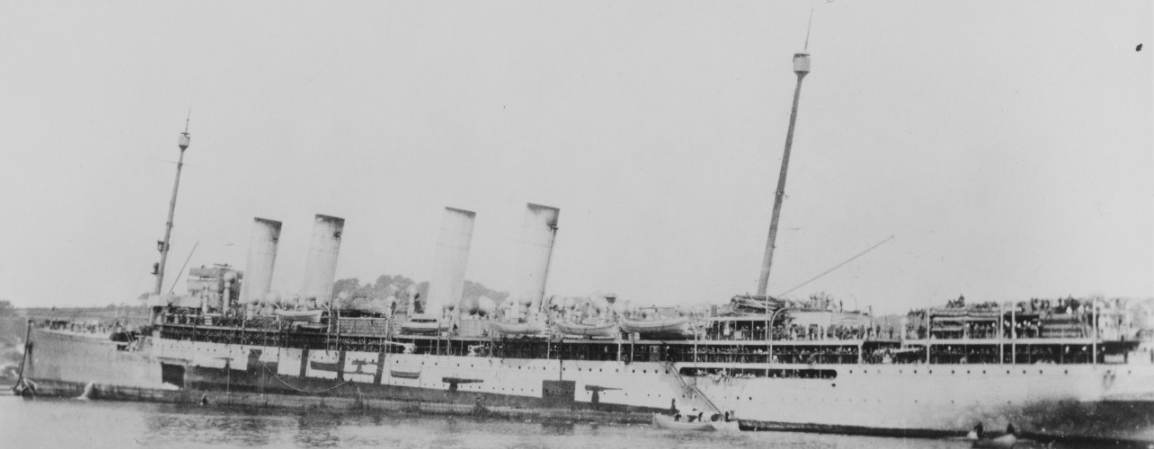 Von Steuben photographed during World War I. Note the odd camouflage scheme of a destroyer silhouette painted on her port side. (Naval History and Heritage Command Photograph NH 101626)