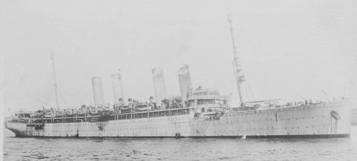 Von Steuben at anchor during the World War. The original photograph is printed on post card (AZO) stock. The original card bears a hand-written inscription 3-14-19, which may be the date that the original owner was on Von Steuben. It is not the date of the photograph, as the configuration of the ship's masts, and the presence of guns, strongly indicates that it was taken about a year earlier. (Naval History and Heritage Command Photograph NH 105069)
