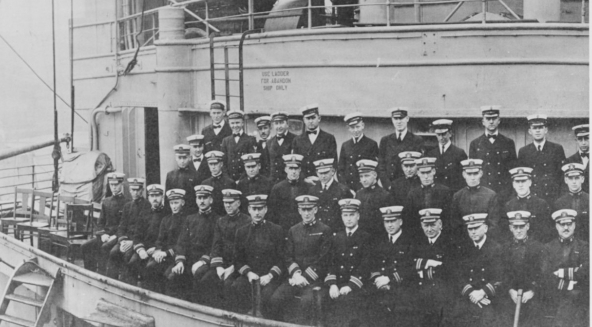 Von Steuben's officers pose on her forward superstructure, September 1919. Cmdr. Frederick J. Horne, her commanding officer, is seated in the front row, 8th from the left. Photographed by Hughes and Estabrook, New York City. (Naval History and Heritage Command Photograph NH 42255)