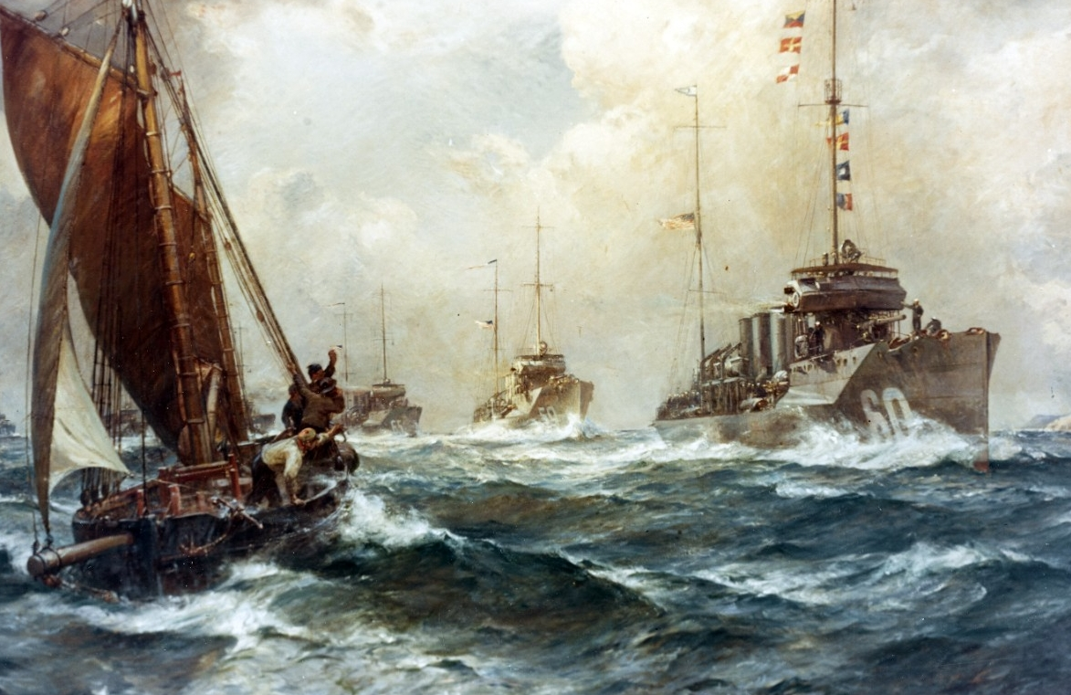Return of the Mayflower, 4 May 1917; Oil on canvas by Bernard F. Gribble, circa 1918, depicting the arrival off Queenstown, Ireland, of the first U.S. Navy destroyers to reach the European war zone for World War I service. The ships were under the command of Cmdr. Joseph K. Taussig. Wadsworth (Destroyer No. 60) leads the line of destroyers, followed by Porter (Destroyer No. 59), Davis (Destroyer No. 65) and three others. A local fishing vessel is under sail in the left foreground. Courtesy of the U.S. Naval Academy Museum, Annapolis, Md. USNA Museum Accession No. 21.9, gift of the Navy Department, 1921.color; Catalog No.: KN-215