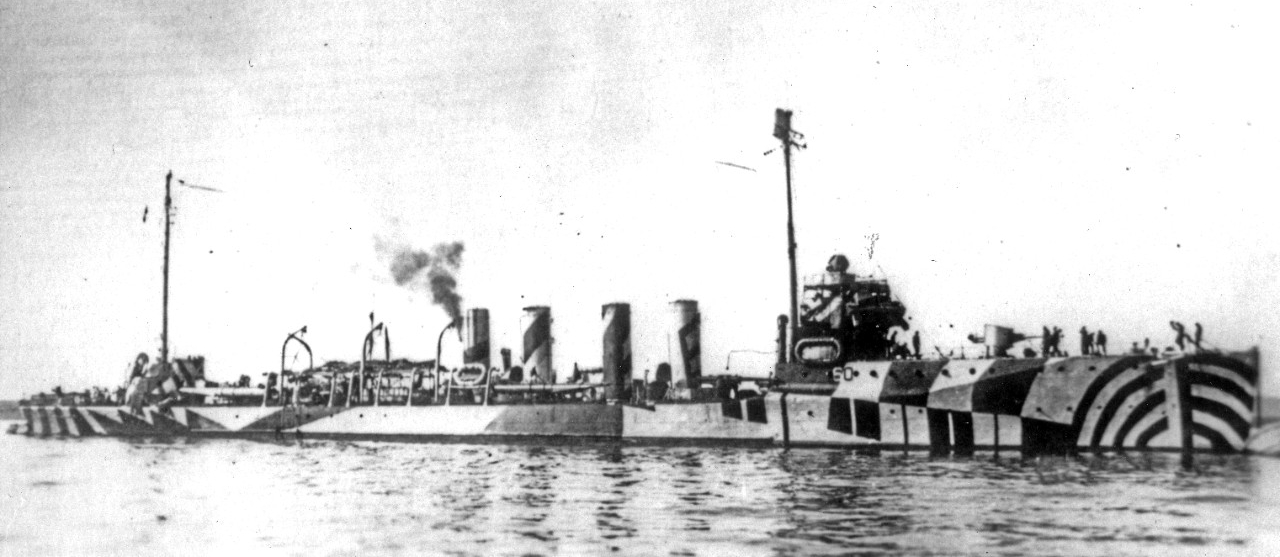 Wadsworth wearing an elaborate pattern camouflage scheme, during World War I. Courtesy of Ted Stone, 1985. (Naval History and Heritage Command Photograph  NH 100431)