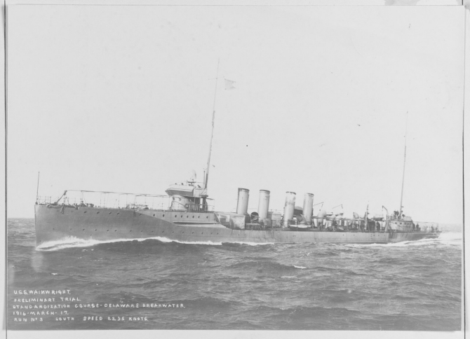 Wainwright steaming at 23.35 knots during preliminary trials on the Delaware Breakwater Standardization Course, 17 March 1916. Her guns and torpedo tubes have not yet been fitted. (Naval History and Heritage Command, NH 60565).