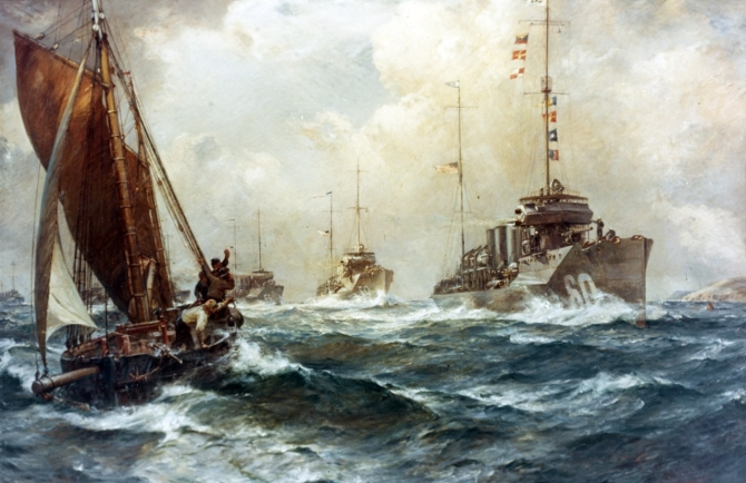 Return of the Mayflower, 4 May 1917. Oil on canvas by Bernard F. Gribble, circa 1918, depicting the arrival off Queenstown, Ireland, of the first U.S. Navy destroyers to reach the European war zone for World War I service. The ships were under the command of Cmdr. Joseph K. Taussig, USN. Wadsworth (Destroyer No. 60) leads the line of destroyers, followed by Porter (Destroyer No. 59), Davis (Destroyer No. 65), and three others. A local fishing vessel is under sail in the left foreground. Courtesy of the U.S. Naval Academy Museum, Annapolis, Md. USNA Museum Accession No. 21.9, gift of the Navy Department, 1921, Catalog #: KN-215.