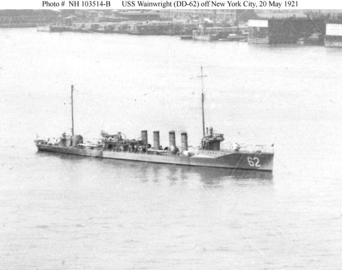 Wainwright in the North River off New York City, 20 May 1921. Cropped from NH 103514, a panoramic photograph by Himmel and Tyner, New York. (Naval History and Heritage Command, NH 103514-B).