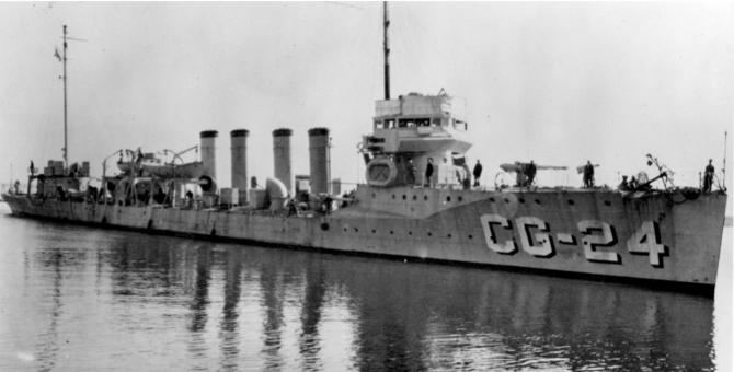 Wainwright, designated CG-24, during her service with the Coast Guard enforcing the 18th Amendment (Prohibition), date unknown. (U.S. Coast Guard Historian's Office).