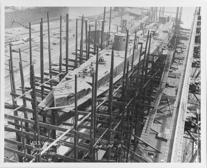 Warrington under construction at Philadelphia, 1 April 1910. (U.S. Navy Photograph 19-N-24-24-2, National Archives and Records Administration, Still Pictures Division, College Park, Md.)