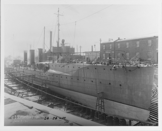 Warrington in drydock, 3 January 1911. (U.S. Navy Photograph 19-N-24-24-10, National Archives and Records Administration, Still Pictures Division, College Park, Md.)