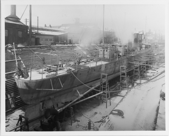 Warrington in drydock, 3 January 1911. (U.S. Navy Photograph 19-N-24-24-8, National Archives and Records Administration, Still Pictures Division, College Park, Md.)