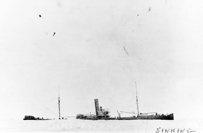 HMS Zylpha sinking on 11 June 1917, photographed from Warrington. Courtesy of Mr. Gustavus C. Robbins, Somerville, Mass. 1973. (Naval History and Heritage Command Photograph NH 77170).