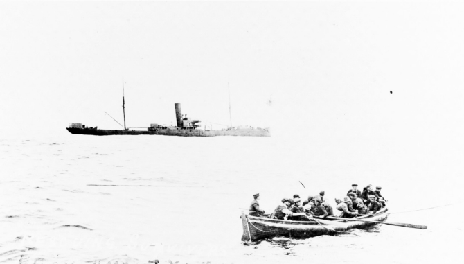HMS Zylpha sinking on 11 June 1917, photographed from Warrington which is rescuing the survivors in the boat. Courtesy of Mr. Gustavus C. Robbins, Somerville, Mass., 1973. (Naval History and Heritage Command Photograph NH 77169)