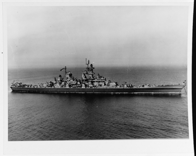 Wisconsin at anchor during her Atlantic coast shakedown period, 30 May 1944. (U.S. Navy Photograph 80-G-453313, National Archives and records Administration, Still Pictures Branch, College Park, Md.).