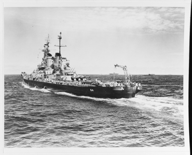 Wisconsin underway with other warships in the western Pacific, circa December 1944-August 1945; photographed by Lt. Barrett Gallagher, USNR. (U.S. Navy Photograph 80-G-470324, National Archives and records Administration, Still Pictures Branch, College Park, Md.).