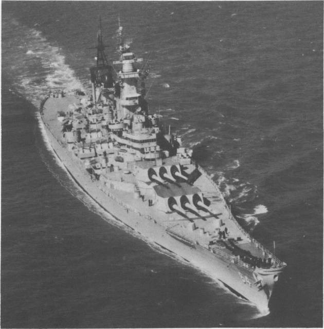 Wisconsin off Norfolk during the 1950s. (U.S. Navy Photograph USN 1087641, National Archives and Records Administration, Still Pictures Branch, College Park, Md.).