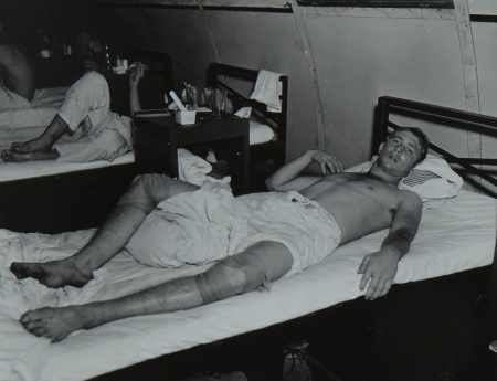 Lindsey L. Carter, S2c USNR, survivor of the USS Indianapolis in Naval Base Hospital No. 20, Peleliu, 5 August 1945.