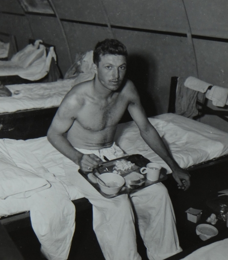 Arthur L. Leenerman, RdM3c USNR, survivor of the USS Indianapolis in Naval Base Hospital No. 20, Peleliu, 5 August 1945.