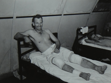 Charles W. Zink, EM2c USNR, survivor of the USS Indianapolis in Naval Base Hospital No. 20, Peleliu, 5 August 1945.