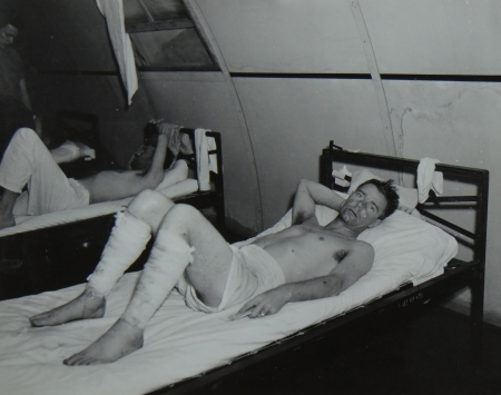 Ralph G. Rogers, RDM3c USNR, survivor of the USS Indianapolis in Naval Base Hospital No. 20, Peleliu, 5 August 1945.