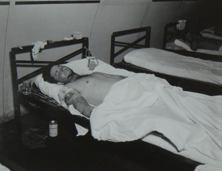 Frank H. Orsburn, SSML2c USNR, survivor of the USS Indianapolis in Naval Base Hospital No. 20, Peleliu, 5 August 1945.