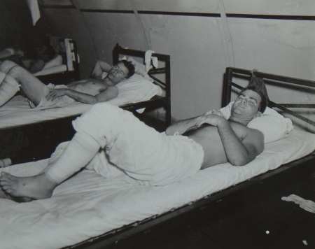 James D. Price, S1c USNR, survivor of the USS Indianapolis in Naval Base Hospital No. 20, Peleliu, 5 August 1945.