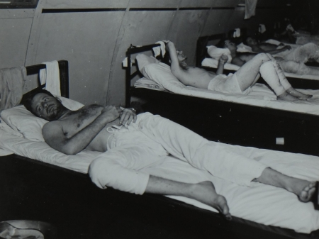 Patrick J. McClain, S2c USNR, survivor of the USS Indianapolis in Naval Base Hospital No. 20, Peleliu, 5 August 1945.