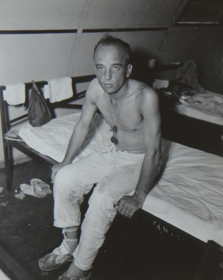 Nicholas W. Fedorski, S1c USN, survivor of the USS Indianapolis in Naval Base Hospital No. 20, Peleliu, 5 August 1945.