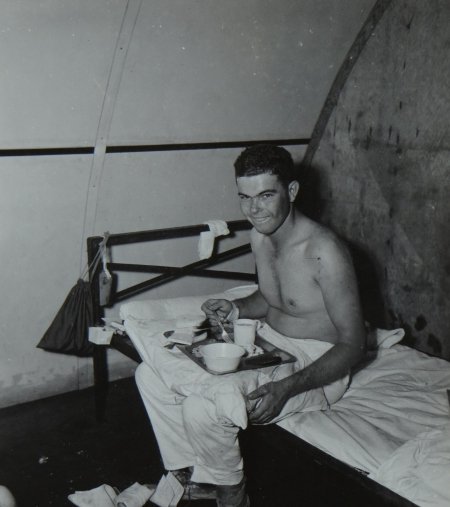 Curtis Pace, S2c USNR, survivor of the USS Indianapolis in Naval Base Hospital No. 20, Peleliu, 5 August 1945.