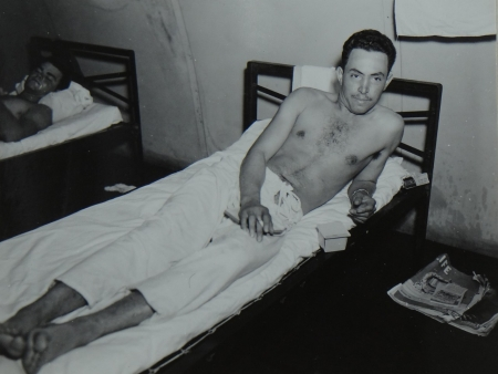 Nestor A. Mestas, WT2c USNR, survivor of the USS Indianapolis in Naval Base Hospital No. 20, Peleliu, 5 August 1945.
