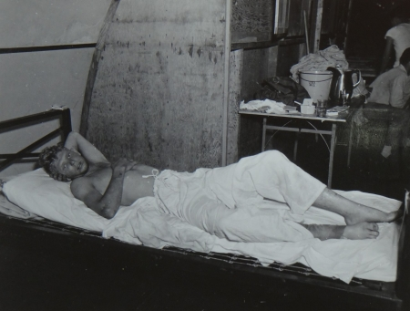 William A. Johnson, S1c USNR, survivor of the USS Indianapolis in Naval Base Hospital No. 20, Peleliu, 5 August 1945.