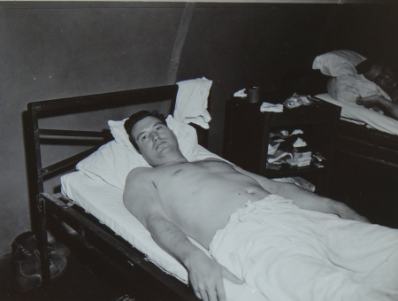 Cecil Harrison, Ch. Gunner USN,  survivor of the USS Indianapolis in Naval Base Hospital No. 20, Peleliu, 5 August 1945.