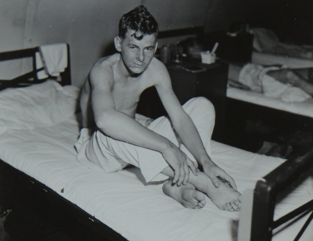 James B. Loftis, S1c USNR, survivors of the USS Indianapolis in Naval Base Hospital No. 20, Peleliu, 5 August 1945.