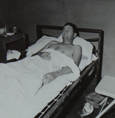 Lt. (jg) Charles MCKissick USNR,  survivor of the USS Indianapolis in Naval Base Hospital No. 20, Peleliu, 5 August 1945.