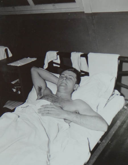 Lt. Erwin E. Hensch USNR,  survivor of the USS Indianapolis in Naval Base Hospital No. 20, Peleliu, 5 August 1945.