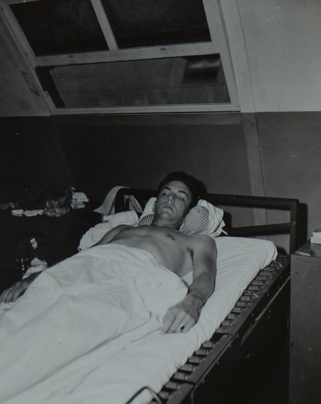Ens. Ross Rogers, Jr. USNR,  survivor of the USS Indianapolis in Naval Base Hospital No. 20, Peleliu, 5 August 1945.