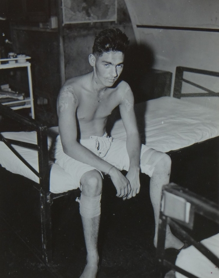 John C. Cassidy, S1c USNR, survivor of the USS Indianapolis in Naval Base Hospital No. 20, Peleliu, 5 August 1945.