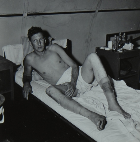 William O. Hoskins, Y3c USNR, survivor of the USS Indianapolis in Naval Base Hospital No. 20, Peleliu, 5 August 1945.