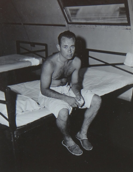 Charles Greenlee, S2c USNR, survivor of the USS Indianapolis in Naval Base Hospital No. 20, Peleliu, 5 August 1945