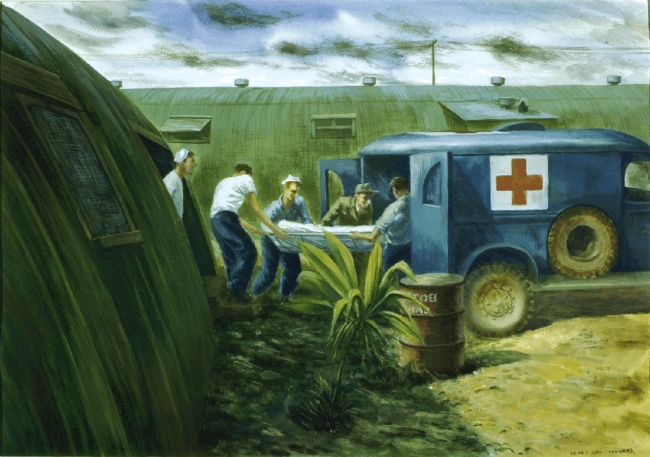 88-198-bu, Ambulance being loaded at Pelelieu Base Hospital, by U.S. Navy combat artist Alexander Russo. From Navy Art Collection, WNY.