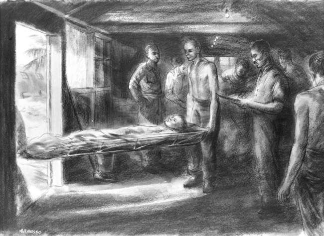 88-198-bq, Medical Officer Supervising Evacuation, by U.S. Navy combat artist Alexander Russo. From Navy Art Collection, WNY.