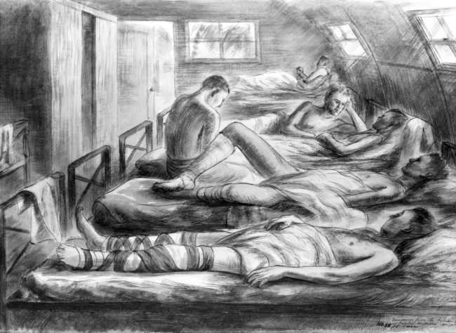 88-198-bp, Survivors of Indianapolis,  by U.S. Navy combat artist Alexander Russo.  From Navy Art Collection, WNY.
