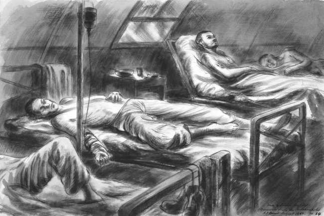 88-198-bo, Suvivors receiving glucose and saline, by U.S. Navy combat artist Alexander Russo.  From Navy Art Collection, WNY.
