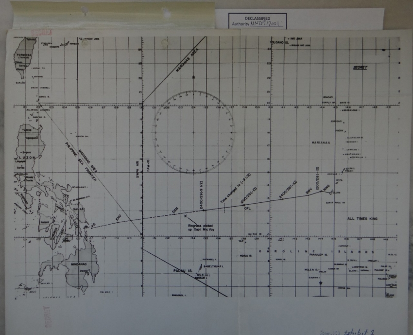 Route Peddie exhibit chart from Court of Inquiry.  This chart shows the supposed movement of Indianapolis along Route Peddie up to the point of sinking, along with the pickup location of Captain McVay.