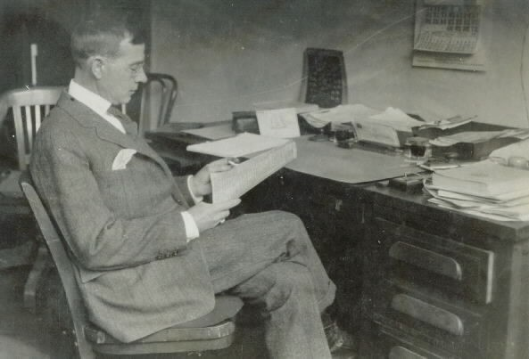 Captain Dudley W. Knox, USN (Ret.) in charge of Naval Records and Library and Historical Section, Old Records Files, 1930. Photo by Childs, C&R. Naval Historical Center, Photographic Section, #NH000407.