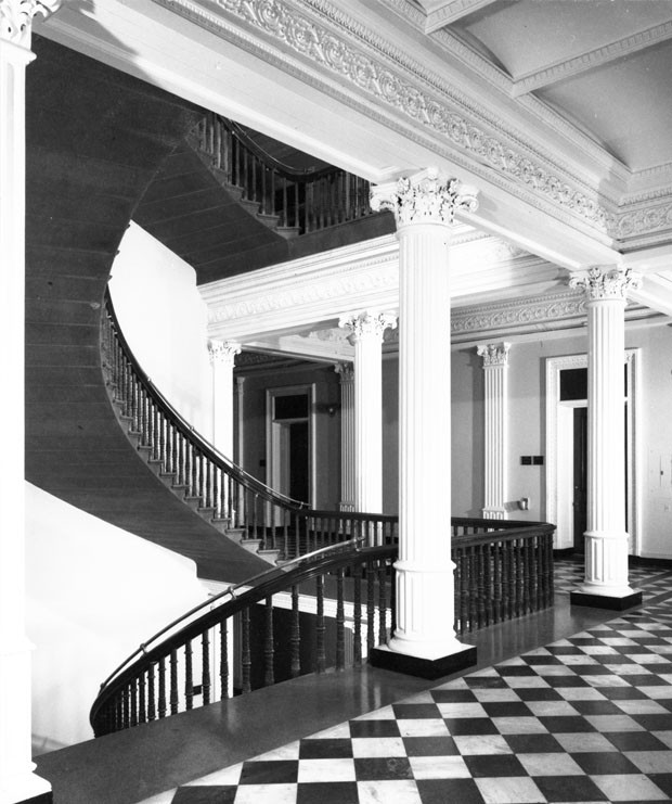 Dunlap Society #75-1551: Corner stairs at west end of the north wing. Photograph taken by Richard Cheek, summer 1976, for the Dunlap Society. Source: Department of Image Collections, National Gallery of Art Library, Washington, DC (Dunlap Society Collection).