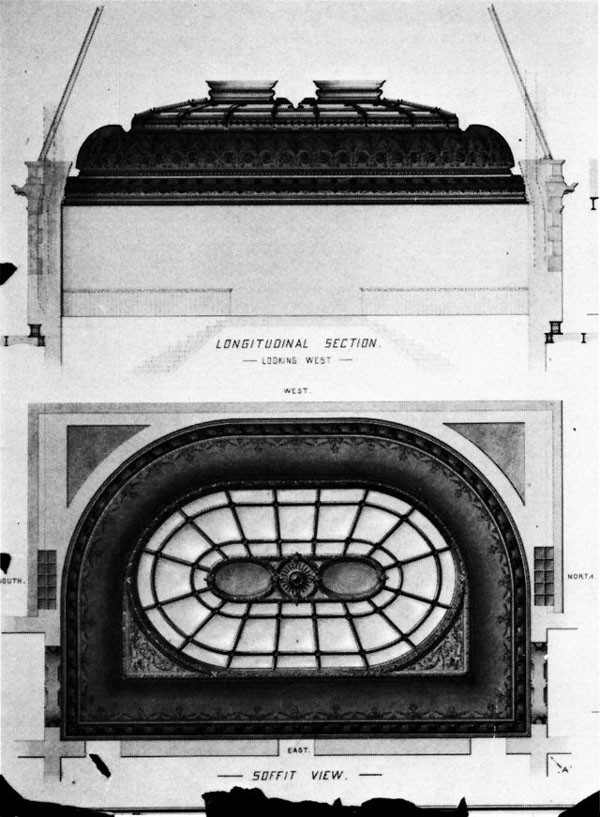 Figure 32: Design for Iron Ceiling and Skylight Over Main Stairs Center Pavilion. The details of the cast-iron floral panels surrounding the colored glass skylight of the east wing were slightly altered before construction, but the plan of the rotunda remained unchanged. The entire area was painted over in the early 1940s, but all elements of this extremely complex dome survive and have recently been restored.